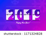 happy new year 2019 scoreboard... | Shutterstock .eps vector #1171324828