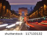 Paris, Champs-Elysees traffic at night - stock photo