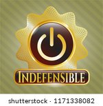 gold emblem with power icon... | Shutterstock .eps vector #1171338082