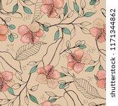 blossom floral seamless pattern.... | Shutterstock .eps vector #1171344862