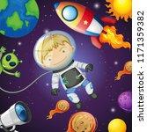 happy astronaut in the space... | Shutterstock .eps vector #1171359382