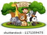 cute animals in the zoo... | Shutterstock .eps vector #1171359475