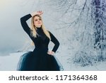 young blonde woman in black... | Shutterstock . vector #1171364368