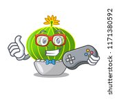 gamer cartoon notocactus fuscus ... | Shutterstock .eps vector #1171380592