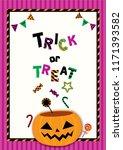 halloween poster design with... | Shutterstock .eps vector #1171393582