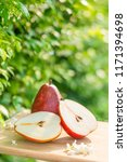 fresh pears on the brown wooden ...   Shutterstock . vector #1171394698