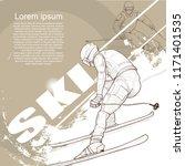 illustration of ski. skier hand ... | Shutterstock .eps vector #1171401535