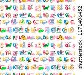 zoo animals alphabet seamless... | Shutterstock .eps vector #1171406452