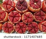 closeup ripe pomegranate fruit... | Shutterstock . vector #1171407685