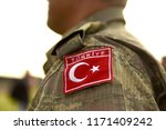 turkish flag on turkey army... | Shutterstock . vector #1171409242