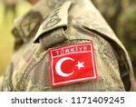 turkish flag on turkey army... | Shutterstock . vector #1171409245