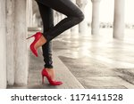 woman with sexy legs standing... | Shutterstock . vector #1171411528