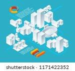 white isometric buildings.... | Shutterstock .eps vector #1171422352