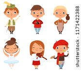 cartoon kids boys and girls of... | Shutterstock .eps vector #1171422388
