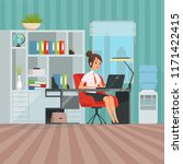 workspace of woman manager.... | Shutterstock .eps vector #1171422415