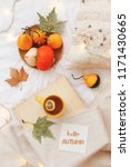orange pumpkins  wooden tray ... | Shutterstock . vector #1171430665