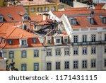 long shot of burnt top floor... | Shutterstock . vector #1171431115