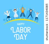 labor day banner  people with... | Shutterstock .eps vector #1171434085