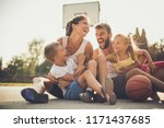 family after basketball have... | Shutterstock . vector #1171437685