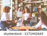 three young women creative team ... | Shutterstock . vector #1171442665