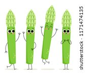 asparagus. cute cartoon... | Shutterstock .eps vector #1171474135