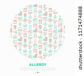 allergy concept in circle with... | Shutterstock .eps vector #1171474888