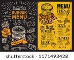 burger restaurant menu vector... | Shutterstock .eps vector #1171493428