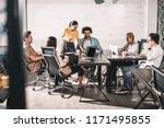 multiethnic business partners... | Shutterstock . vector #1171495855