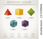 Colorful set of geometric shapes, platonic solids, vector illustration | Shutterstock vector #117150046