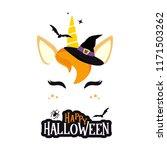 halloween unicorn character... | Shutterstock .eps vector #1171503262