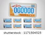 set montana auto license plate. ... | Shutterstock .eps vector #1171504525