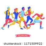 running marathon  people run ... | Shutterstock .eps vector #1171509922