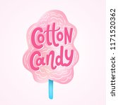 cotton candy on stick. text... | Shutterstock .eps vector #1171520362