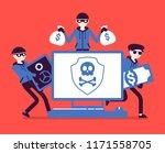electronic theft danger. masked ... | Shutterstock .eps vector #1171558705