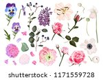 vector garden flowers bright... | Shutterstock .eps vector #1171559728