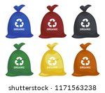 bag with garbage. trash in... | Shutterstock .eps vector #1171563238
