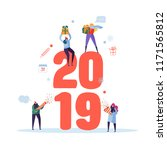 happy new year 2019 greeting...   Shutterstock .eps vector #1171565812