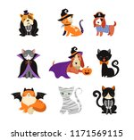 Stock vector happy halloween cats and dogs in monsters costumes halloween party vector illustration banner 1171569115