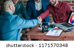 handshake of the advertising... | Shutterstock . vector #1171570348