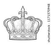 king crown. engraving vintage... | Shutterstock .eps vector #1171570948