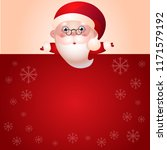 santa claus with empty message...   Shutterstock .eps vector #1171579192