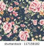 Stock vector seamless vintage flower pattern on navy background 117158182