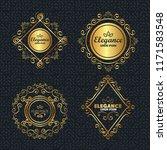 set elegance style golden frames | Shutterstock .eps vector #1171583548