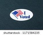 'i voted' sticker on the black...