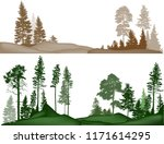 illustration with high pines in ... | Shutterstock .eps vector #1171614295