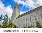 hallgrimskirkja  white lutheran ...   Shutterstock . vector #1171619662