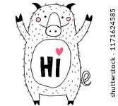 pig cute funny illustration and ... | Shutterstock .eps vector #1171624585