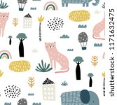 seamless pattern with kids... | Shutterstock .eps vector #1171632475