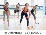 people in aerobics class... | Shutterstock . vector #117164032