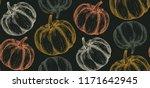 vector hand drawn pumpkin... | Shutterstock .eps vector #1171642945